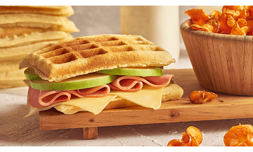 Waffle Turkey Cheese Sandwich Healthy Lunch