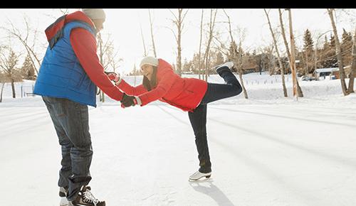 Couple Ice Skating Winter