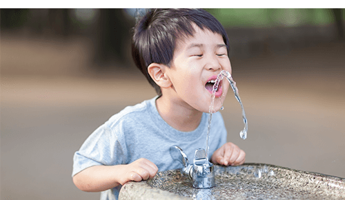 Boy Water Fountain Stay Hydrated