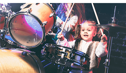 Children Playing Rock Music Drum Set