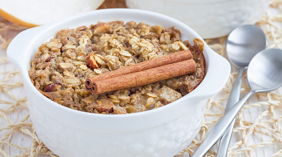 Bowl of Almond Butter and Banana Baked Oatmeal