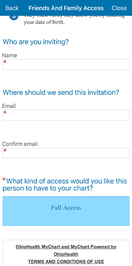Fill out the requested information, agree to the terms and conditions and then select send invite.