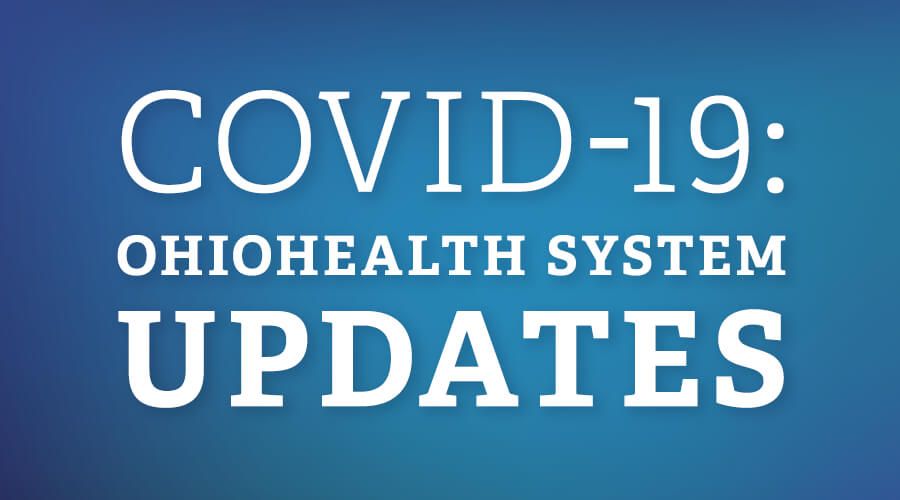 Blue background with text that says COVID-19: OhioHealth System Updates