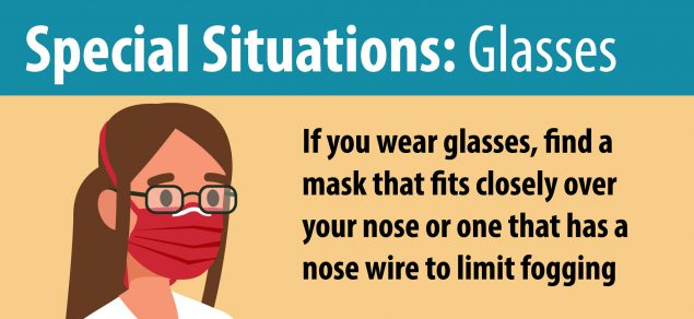 Graphic showing a tip for wearing glasses with a face mask