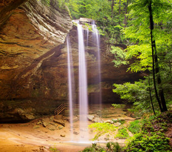 Waterfall in cave at Hocking Hills State Park in Ohio
