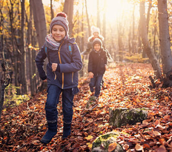 Children hiking in forest during fall