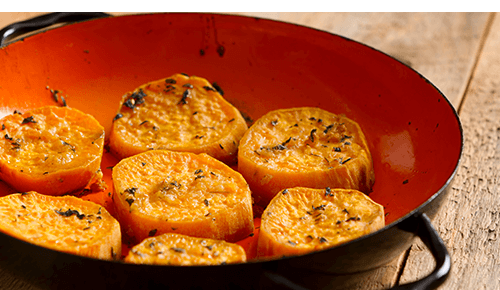 Slices of roasted sweet potatoes