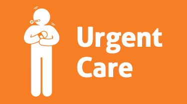 Infographic with stick figure icon and words that say Urgent Care