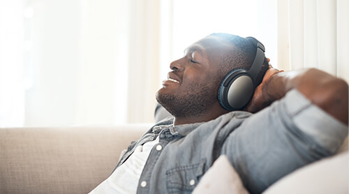 Man Listen to Music Stress-Free