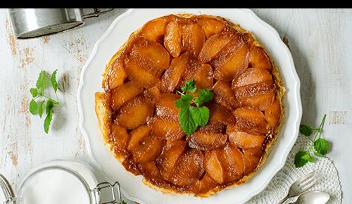 Souffléed apple pancake on plate