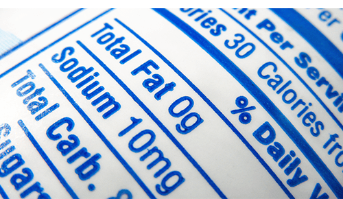 Closeup of a nutrition label on a food package