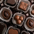 Box of a variety of chocolate truffles and squares