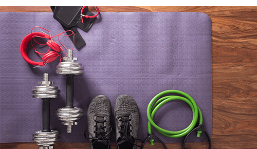Layout of workout equipment, accessories and shoes