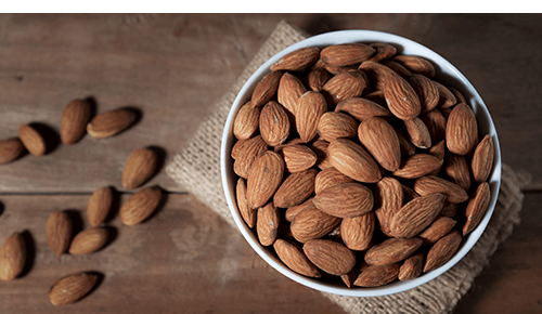 Bowl of raw almonds