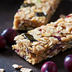 Closeup of granola bars with cranberries