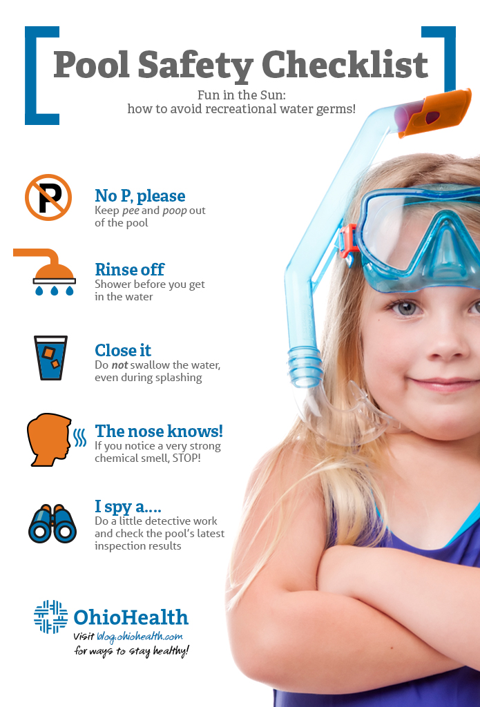 Infographic with tips for pool safety during the summer