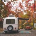 Camper set up in woods