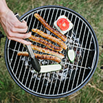 Closeup of a grill with meat on it