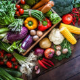 Variety of vegetables around a basket on a wooden background