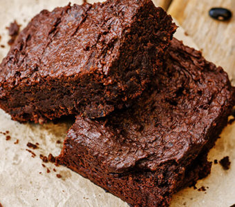 Pieces of a chocolate brownie