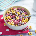 Bowl of fruity cereal loops