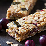 Two granola bars with dried cranberries