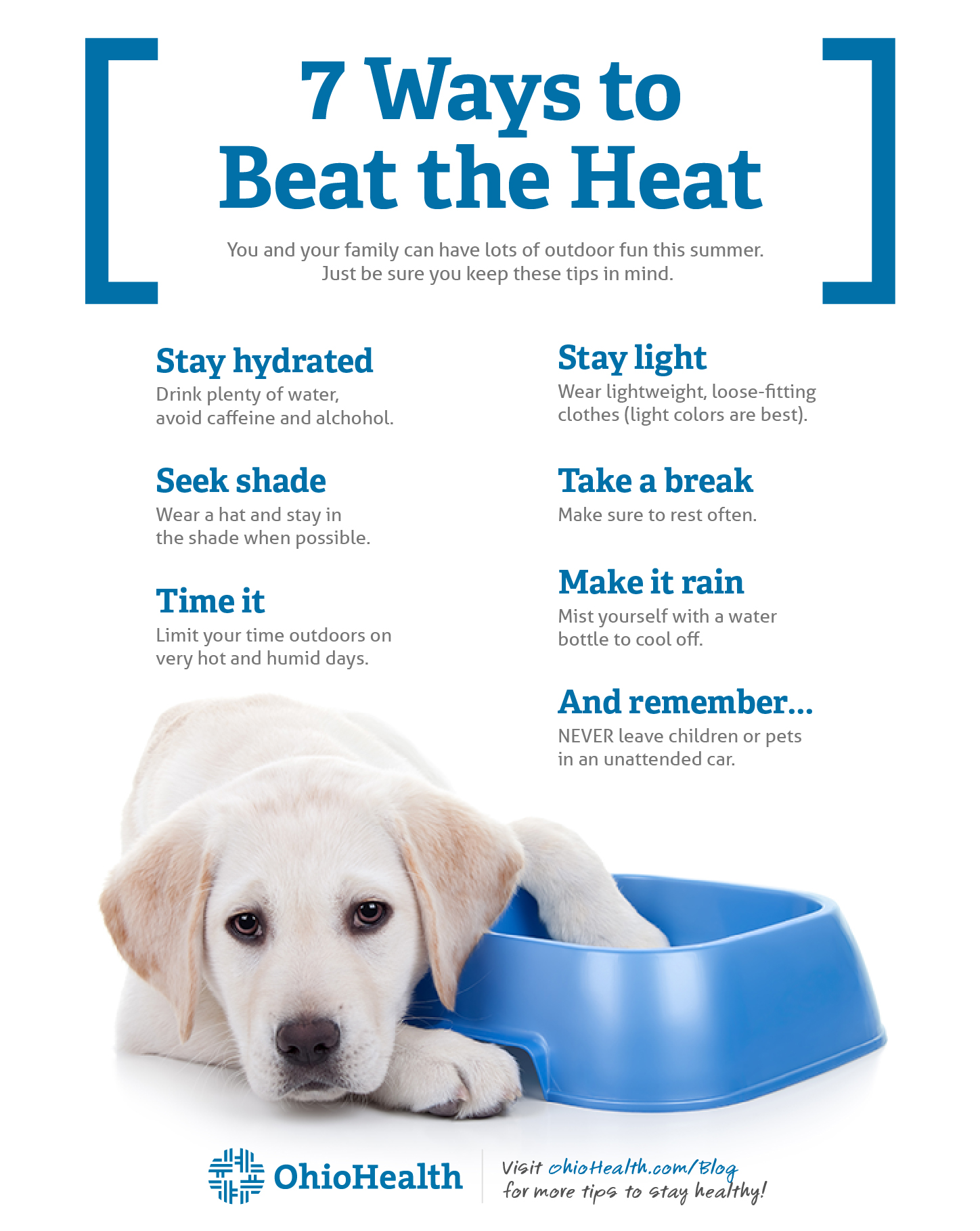 Infographic depicting 7 safety tips for spending time outdoors in the summer heat