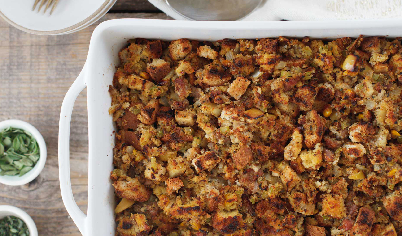 Apple and Sausage Cornbread Stuffing with Sage