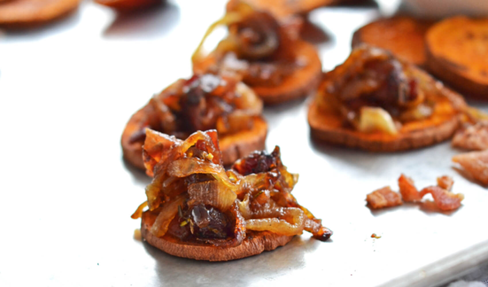 Caramelized Onion & Bacon Compote on Sweet Potato Crostini