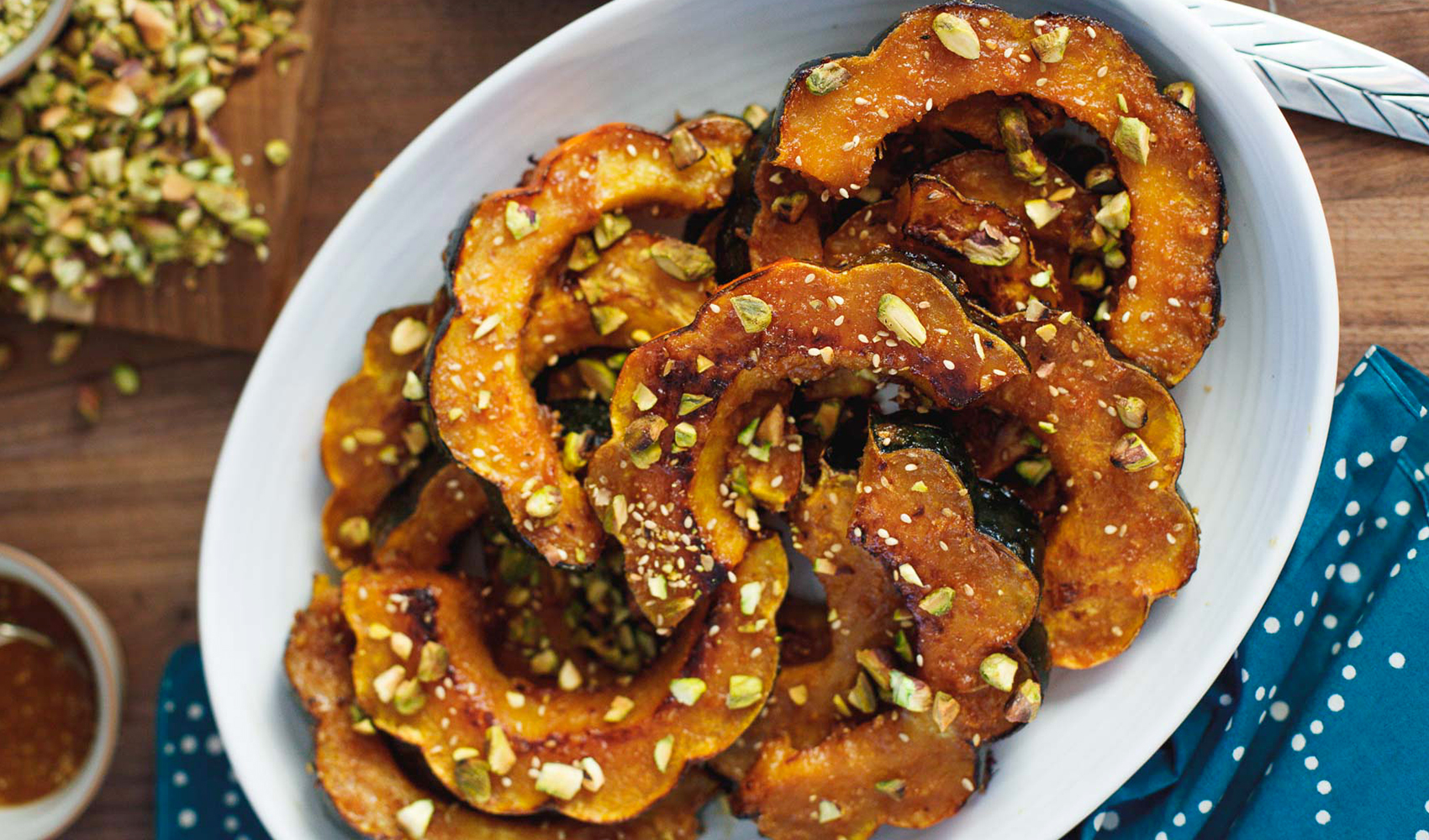 Ginger Miso Acorn Squash with Toasted Pistachios