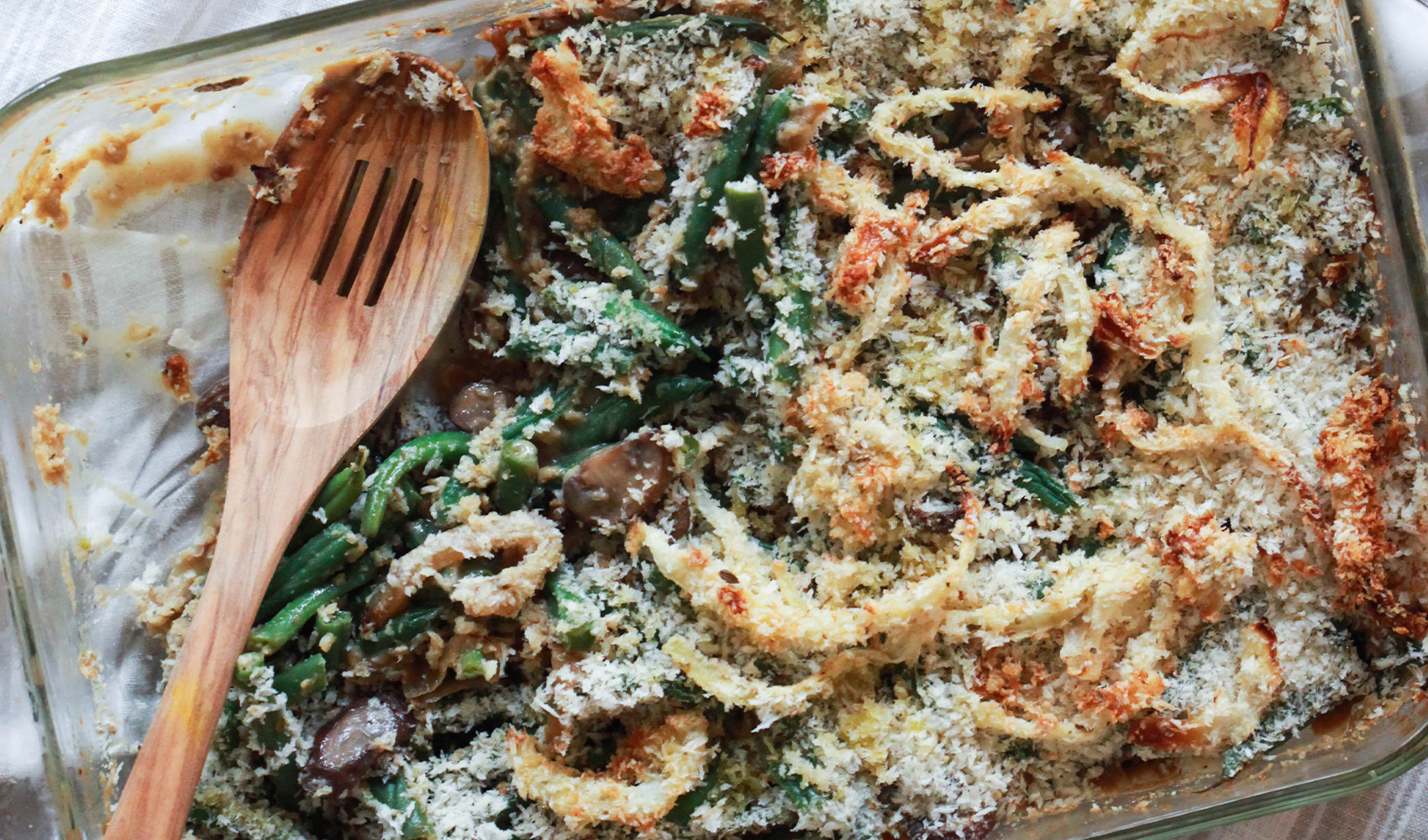 Healthy Creamy Green Bean Casserole