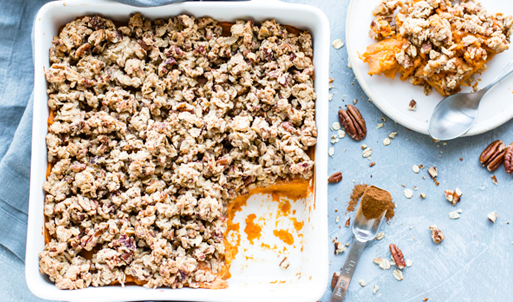 Healthy Sweet Potato Casserole with Pecan Oat Crumble