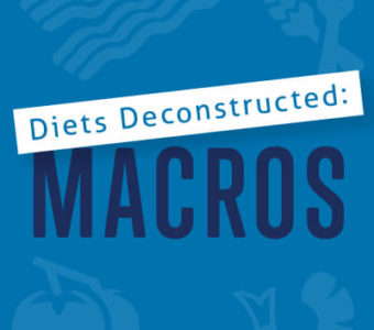 Infographic with text that says Diets Deconstructed: Macronutrients