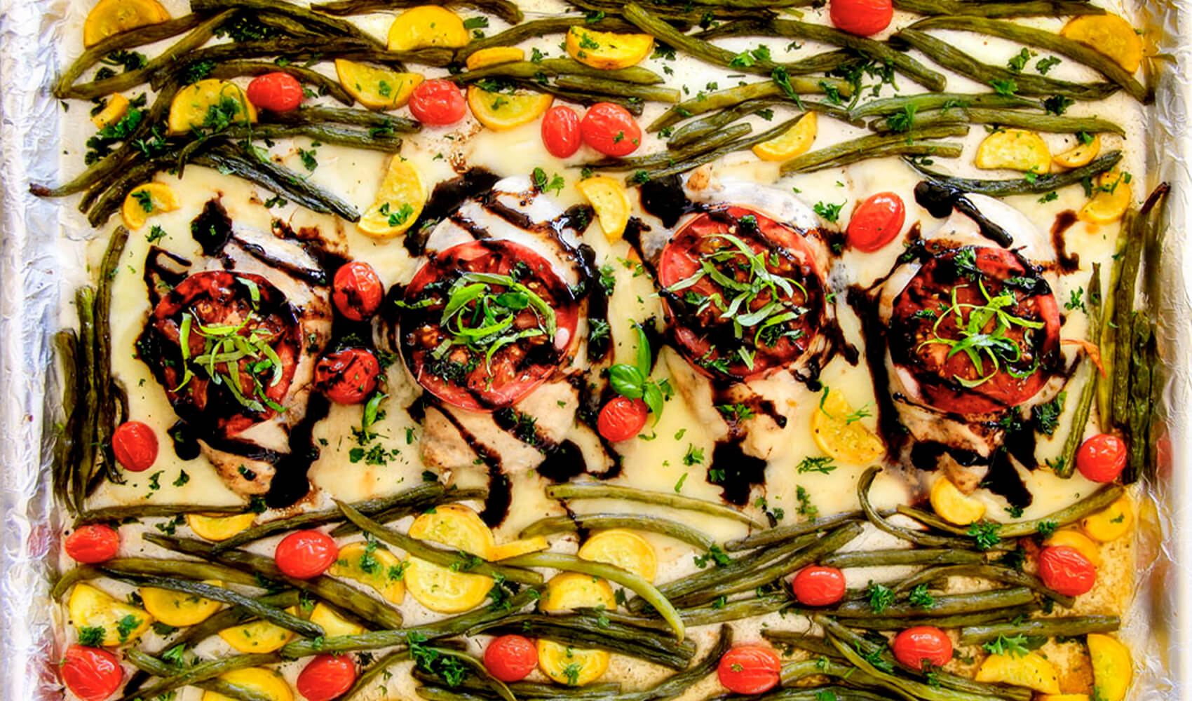 Sheet Pan Caprese Balsamic Chicken and Veggies