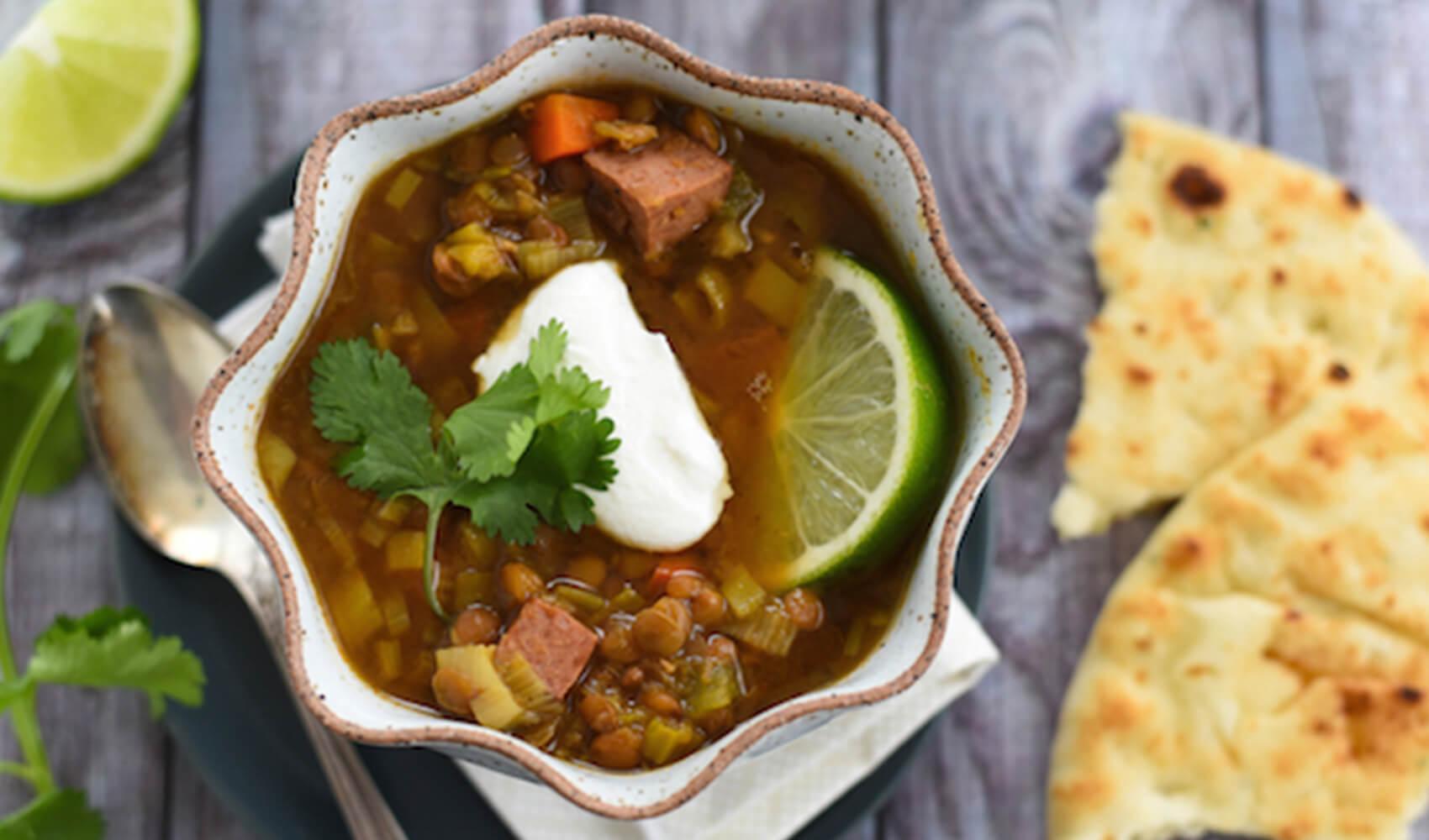 Slow Cooker Lentil & Sausage Soup