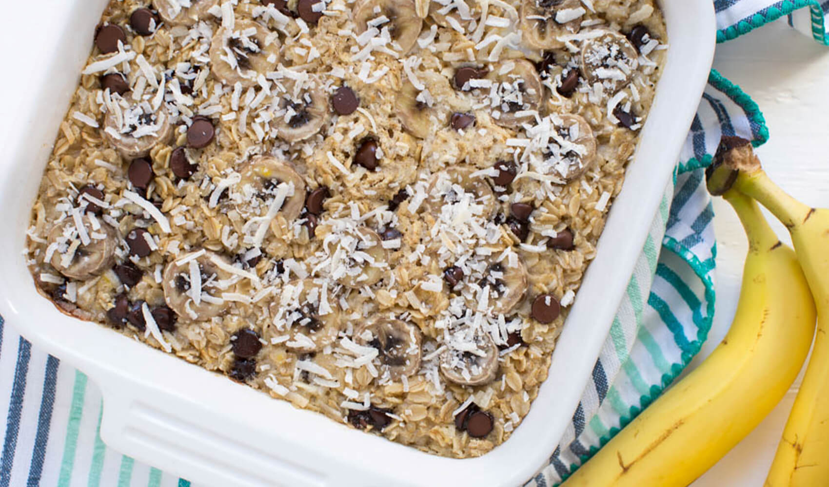 Banana Chocolate Chip Coconut Baked Oatmeal