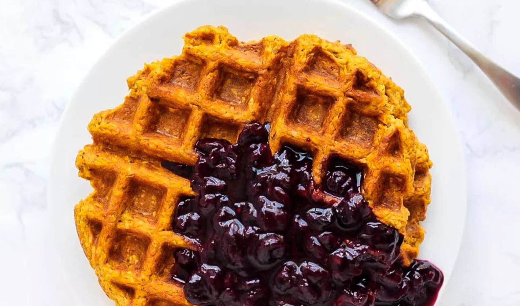 Blender Sweet Potato Waffles with Blueberry Sauce