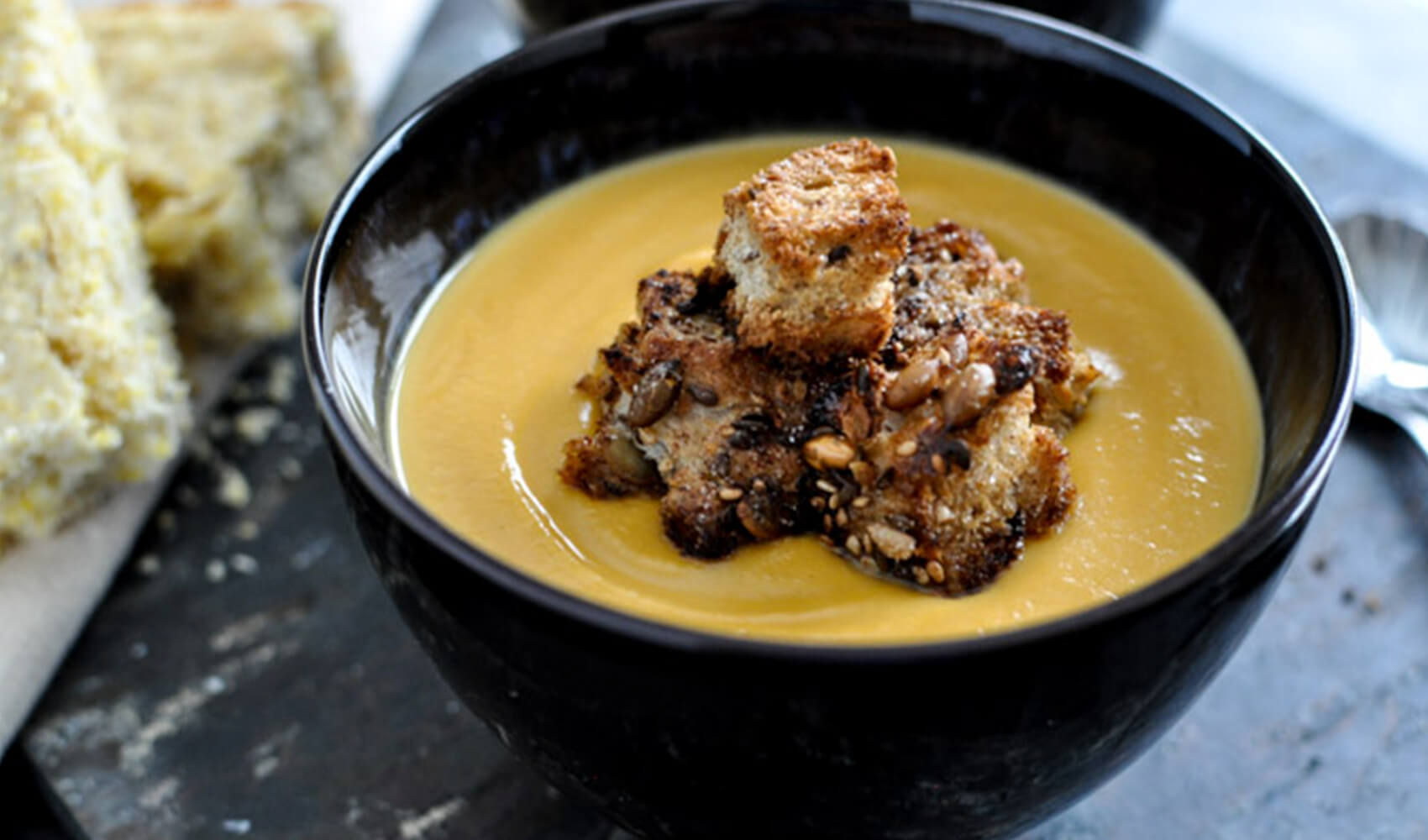 Bourbon Sweet Potato Bisque with Brown Butter Cinnamon Sugar Croutons