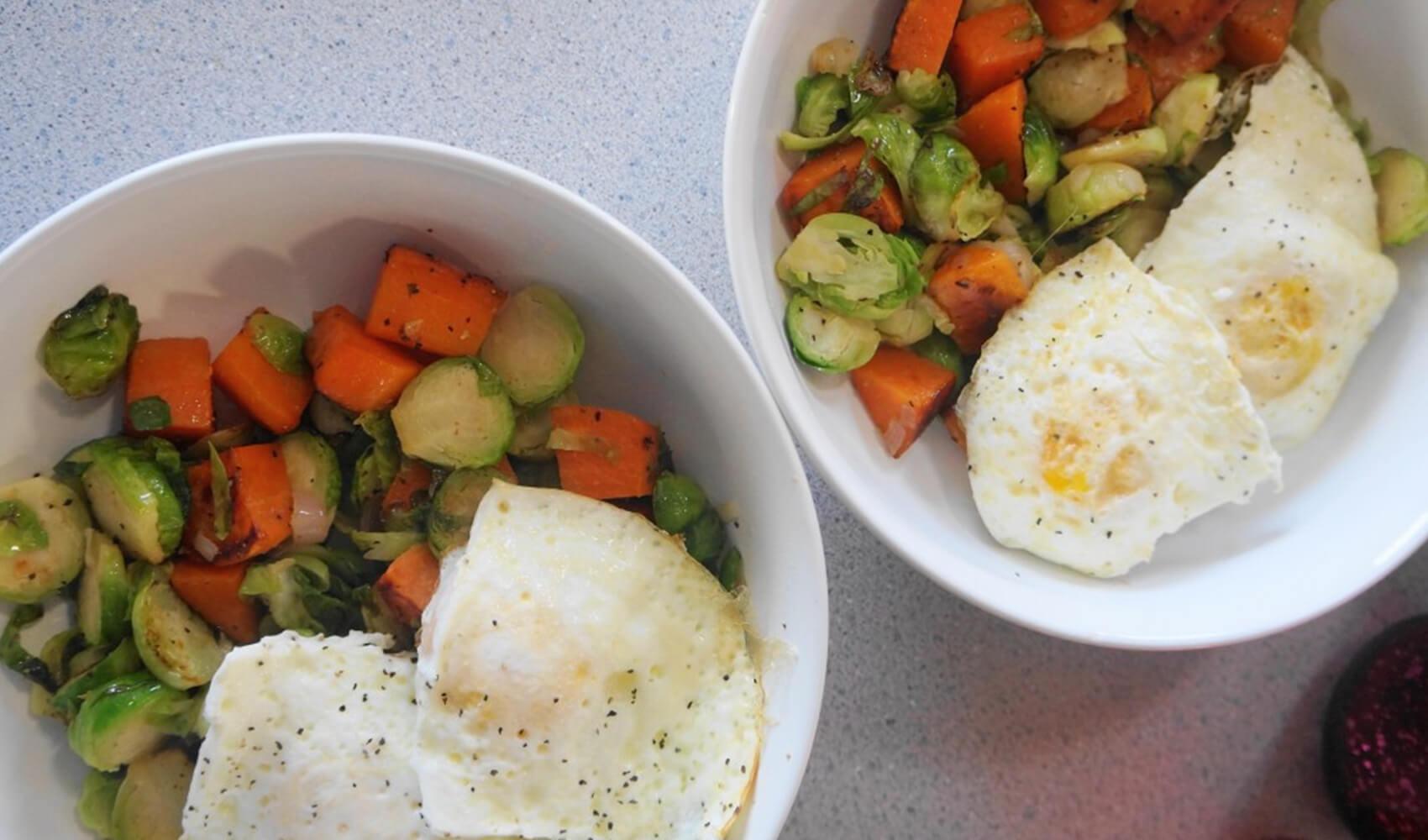 Brussels Sprouts & Sweet Potato Breakfast Bowl