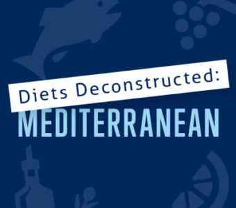 Infographic with text that says Diets Deconstructed: Mediterranean