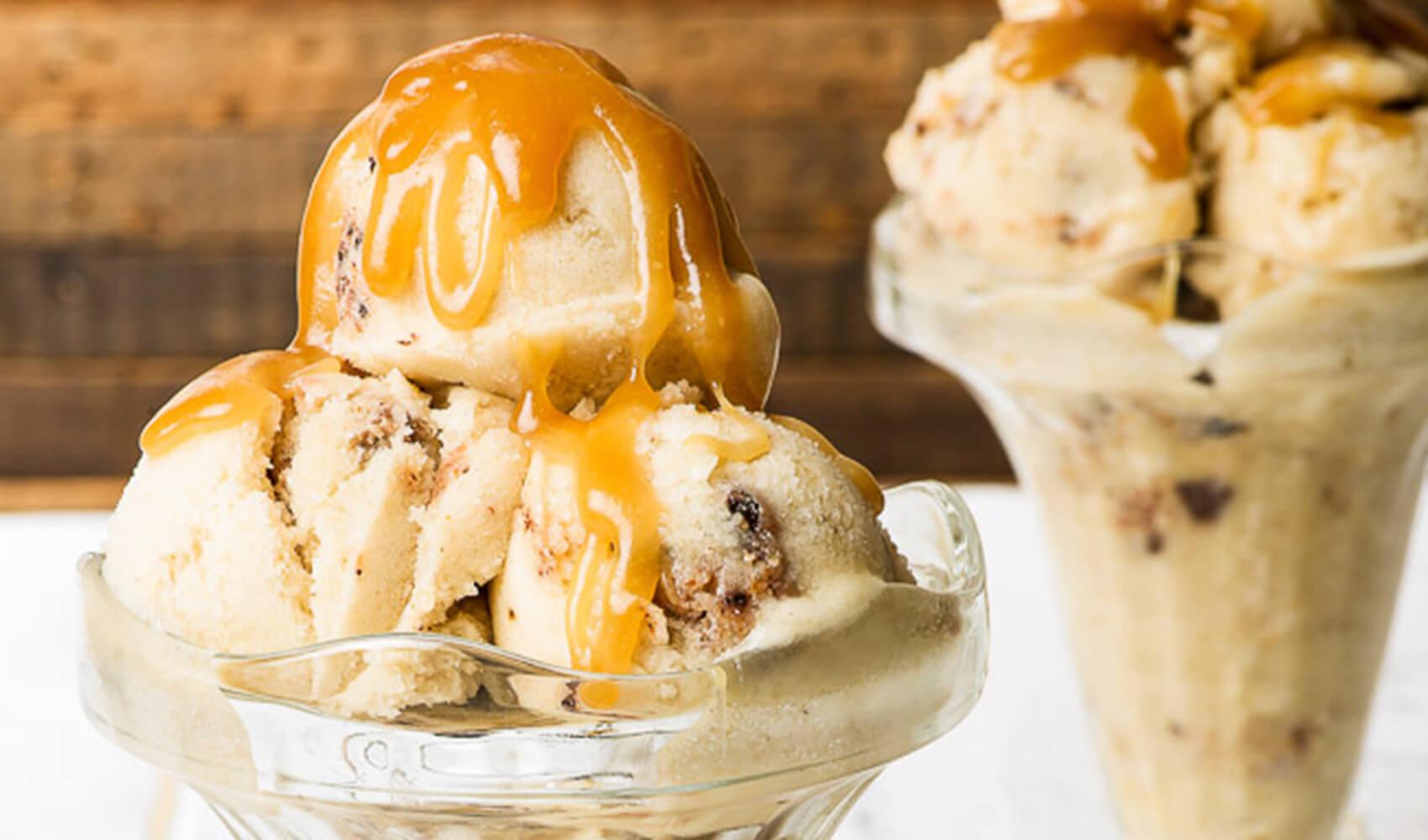 Healthy Salted Caramel Cookie Dough Ice Cream Sundae