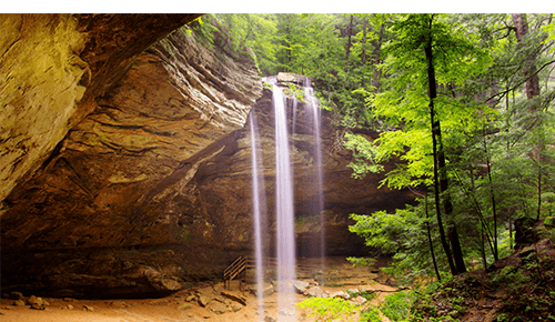 Picture of waterfall in cave at Hocking Hills State Park in Ohio