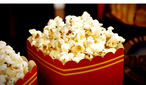 Containers of popcorn