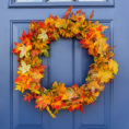 Fall wreath on blue door