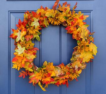 Fall wreath on blue door