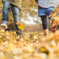 Closeup of two children kicking and playing in fall leaves on the ground