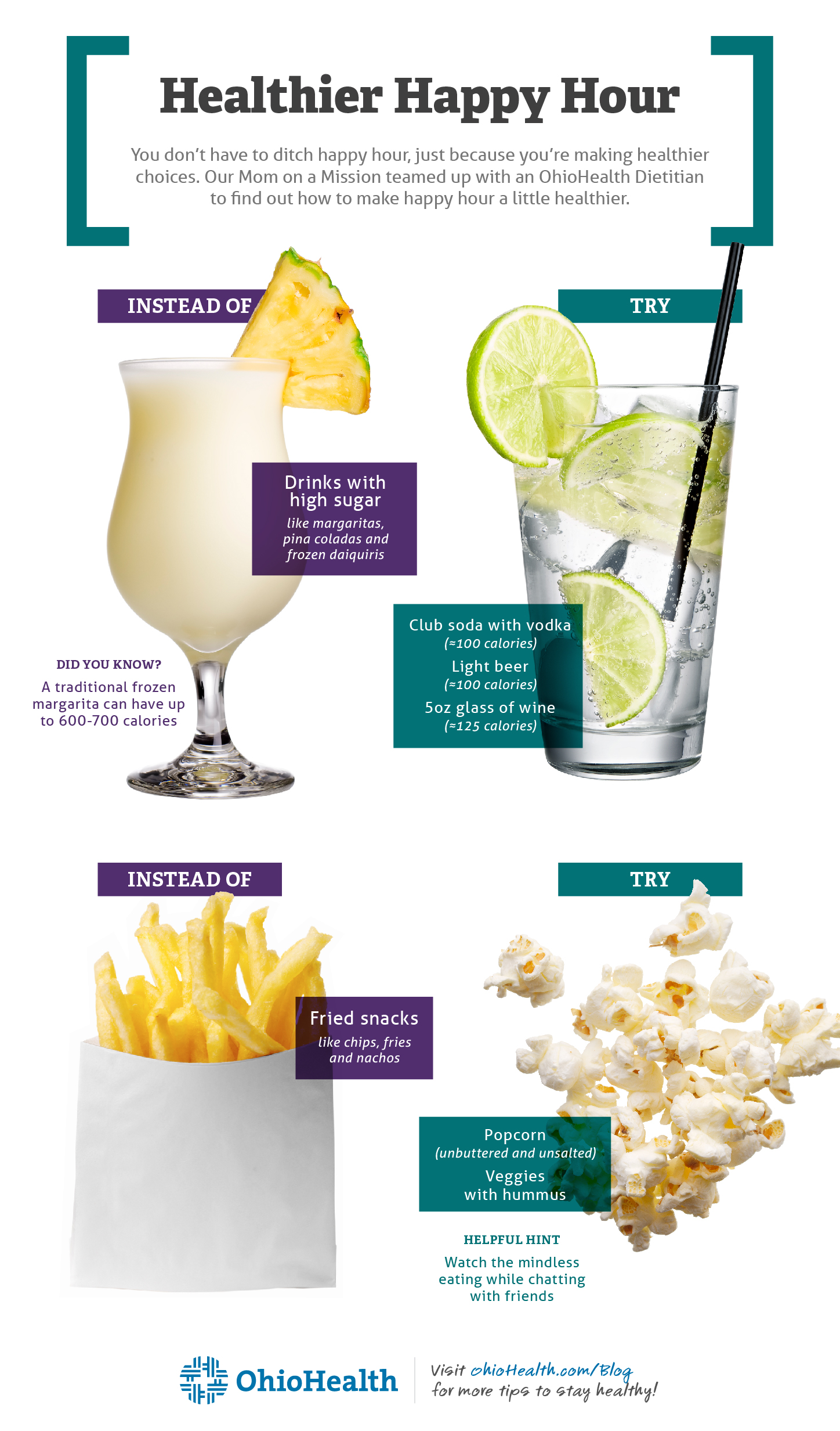 Infographic describing healthy swaps to make with drinks and foods at happy hour