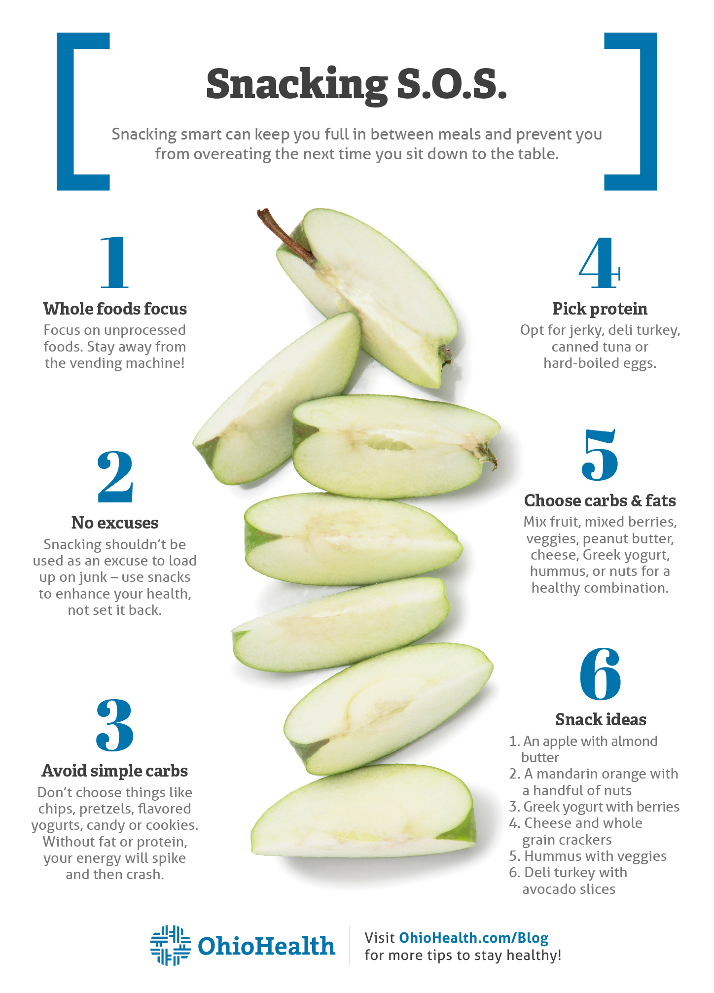 Infographic with six tips to help you snack smarter between meals