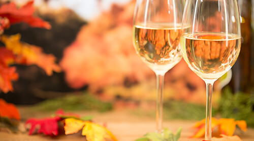 Glasses of White Wine in Fall Foliage