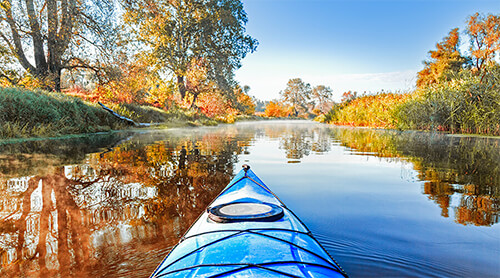 Kayaking through Fall Foliage